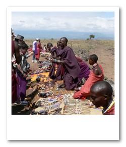 マサイの村の青空マーケット